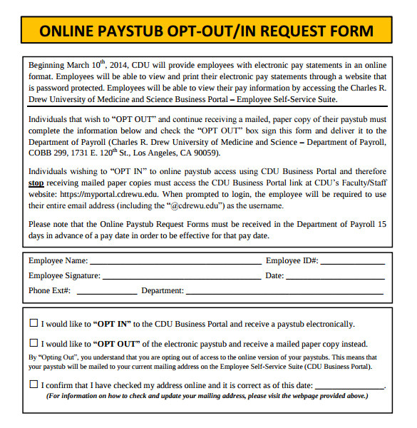 Free Opt In form Templates Pin Online Pay Stubs Opt Out Request form On Pinterest
