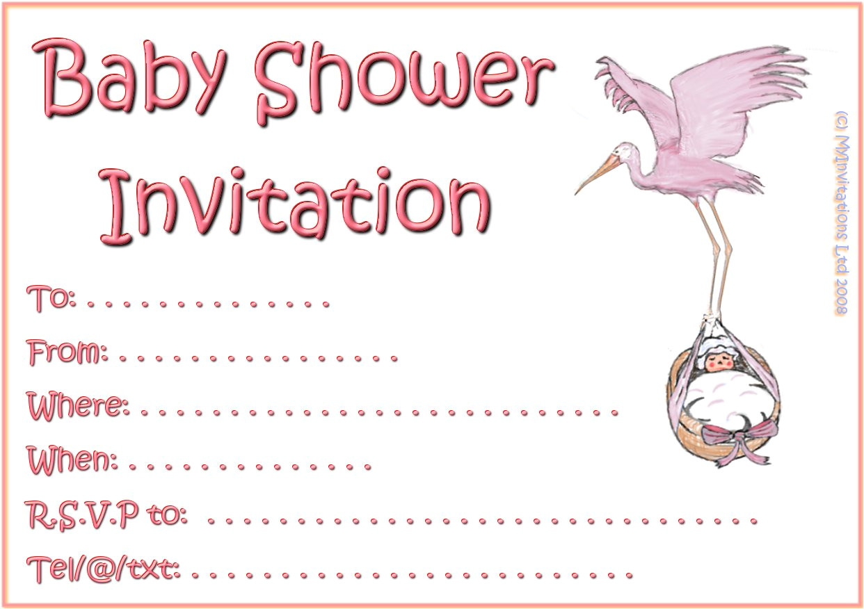 baby free printable shower invitations pink black white