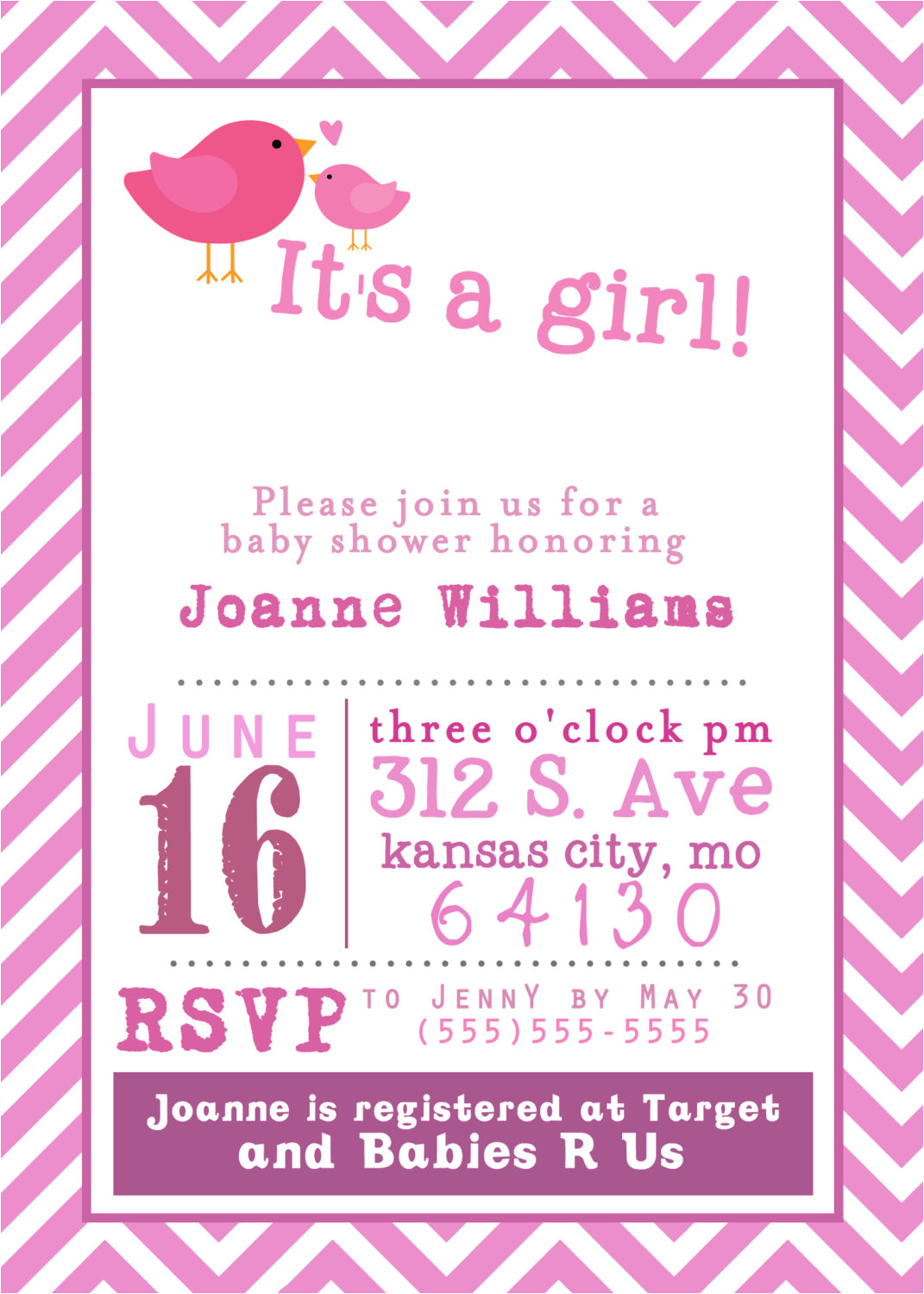 free printable baby shower girl invitation