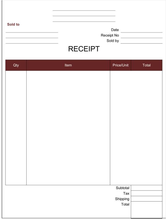 Free Printable Cash Receipt Template Cash Receipt Template 5 Printable Cash Receipt formats