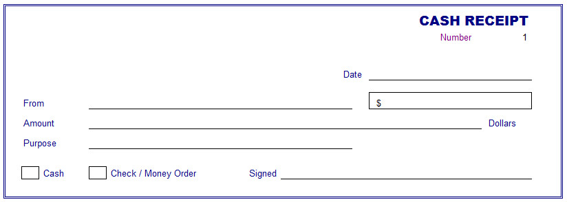 fillabe and blank cash receipt template free layout