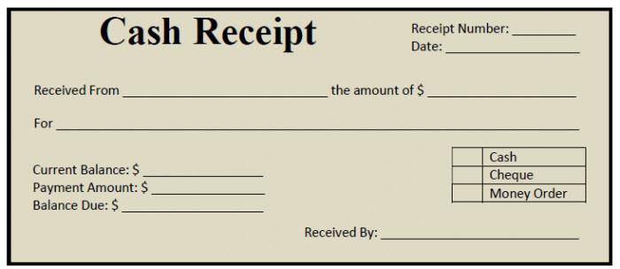 money receipt format examples
