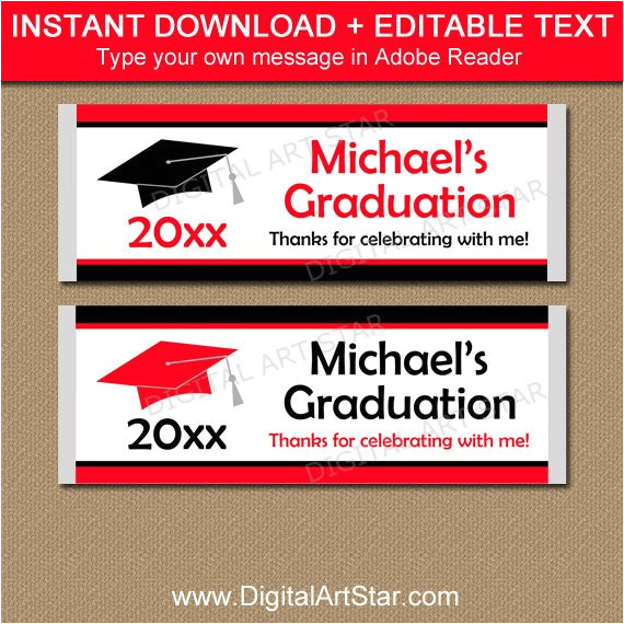 graduation candy bar wrappers editable graduation