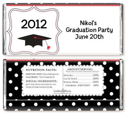 Free Printable Graduation Candy Bar Wrappers Templates Graduation Cap Black Red Personalized Graduation Party