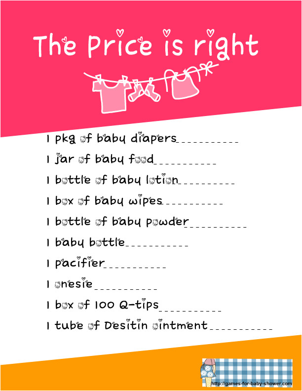 free printable baby shower price is right game