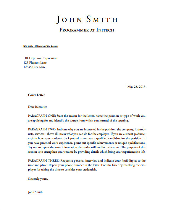 latex cover letter
