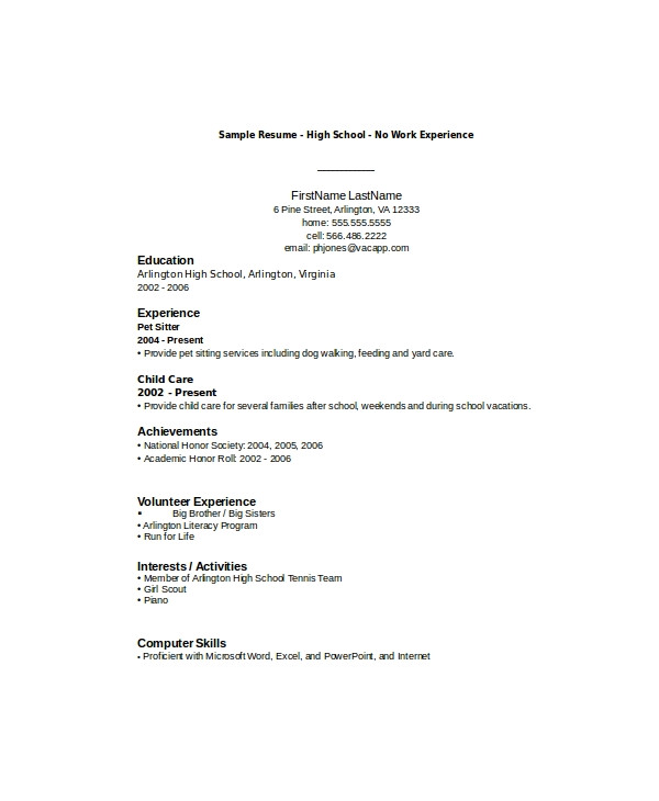 Free Resume Templates for High School Students with No Experience 10 High School Student Resume Templates Pdf Doc Free