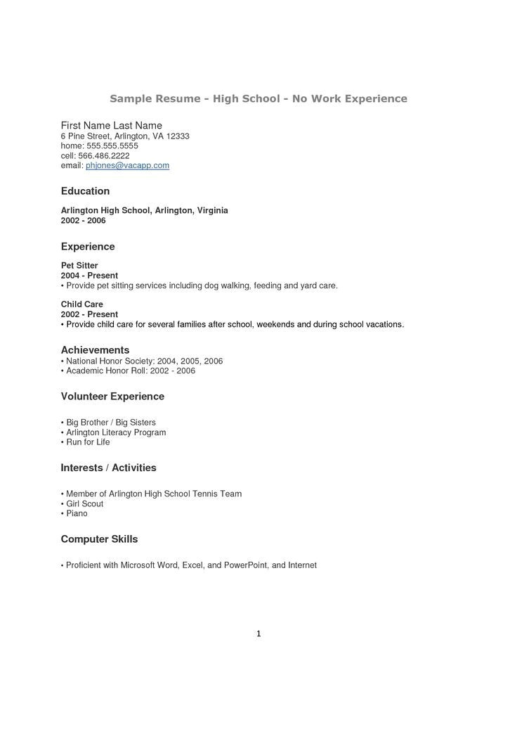 Free Resume Templates for High School Students with No Experience Resume for High School Students with No Work Experience