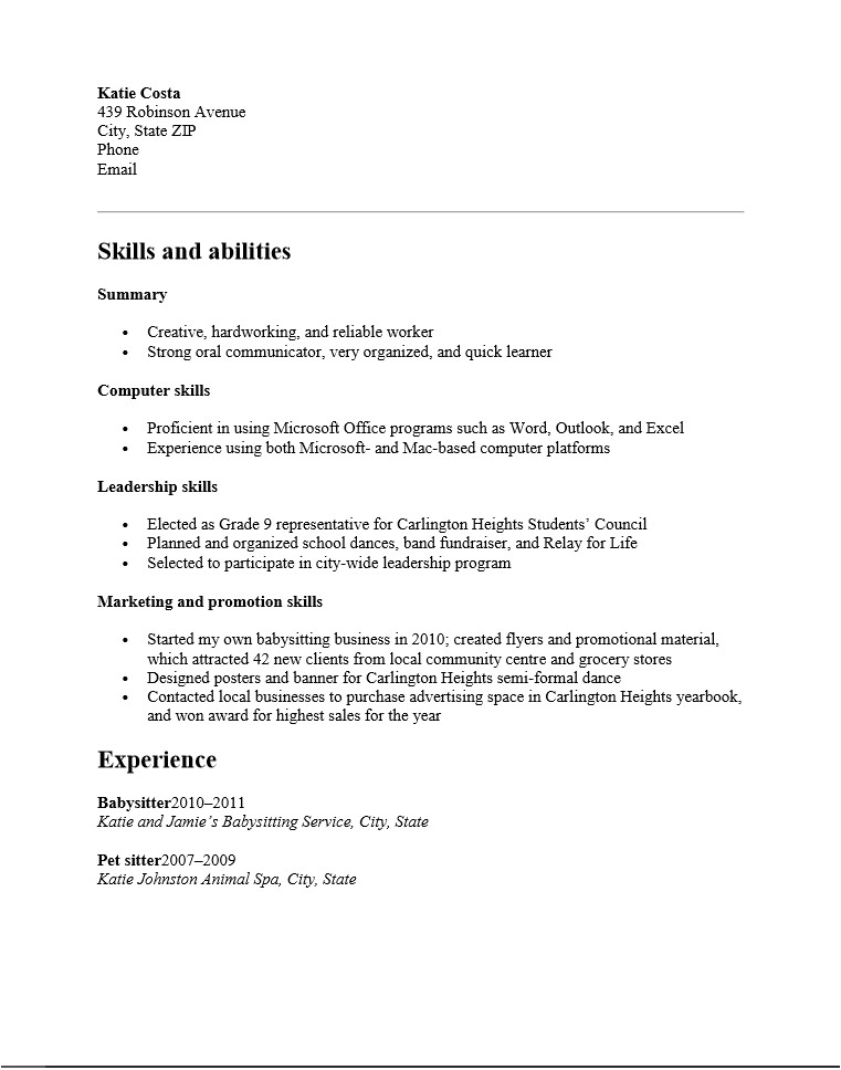 resume templates high school students no experience