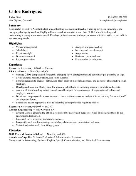 executive administrative assistant resume sample