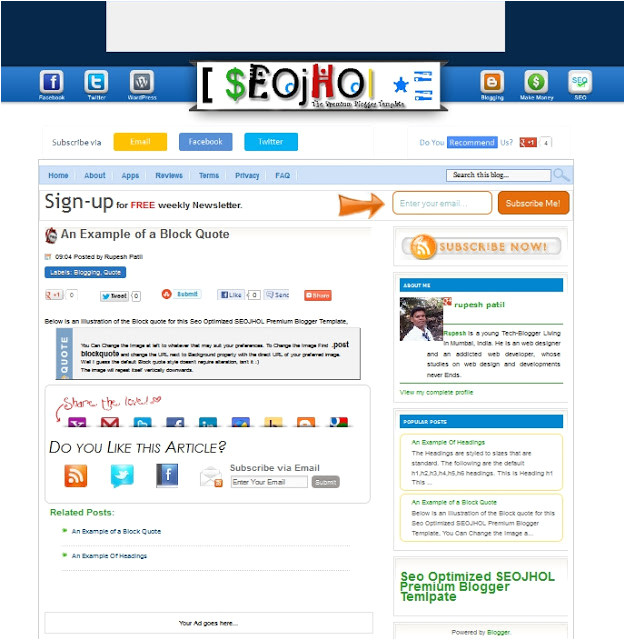 seo optimized seojhol premium blogger template