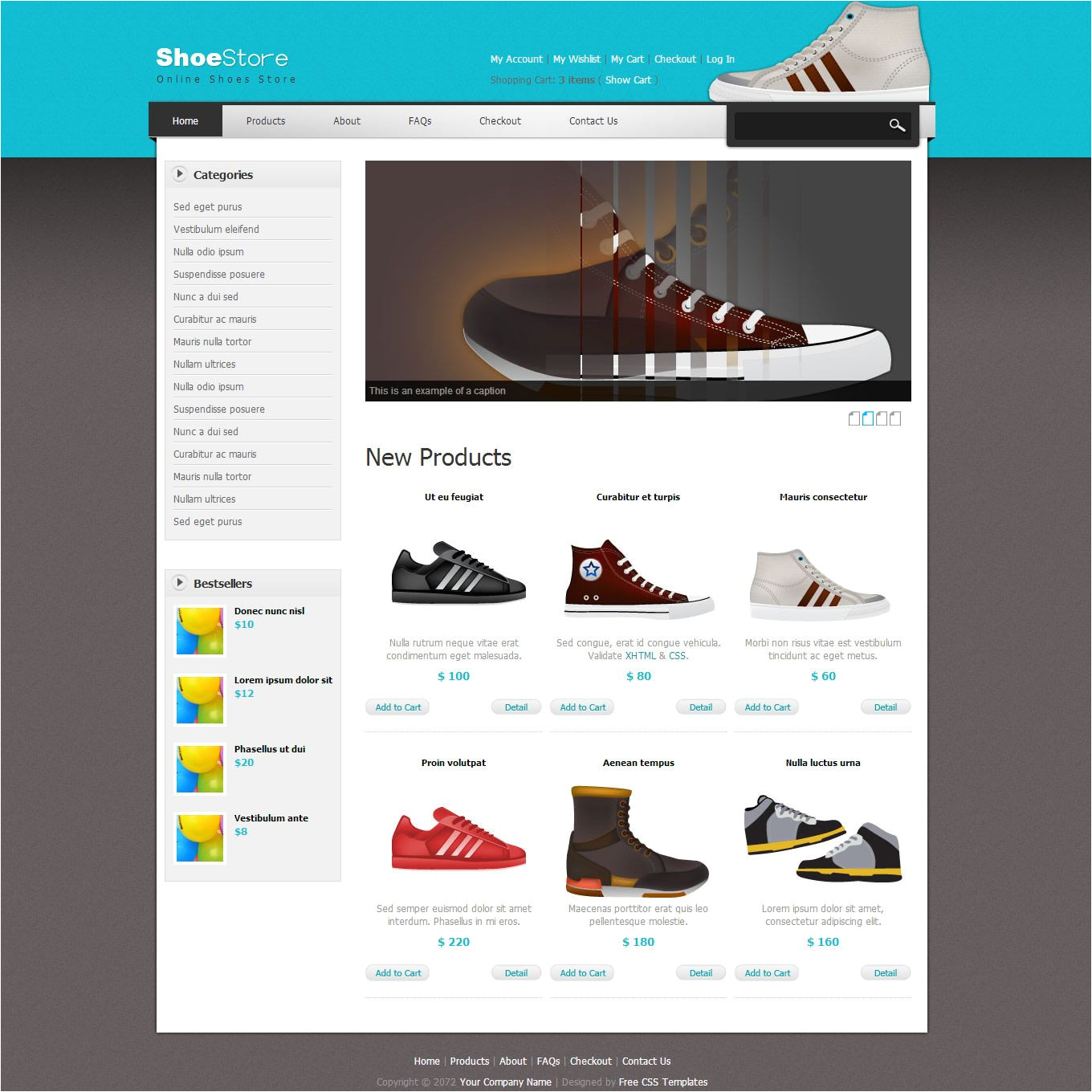 Free Shopping Cart Templates HTML Shoes Template is An Ecommerce Store theme for Shopping