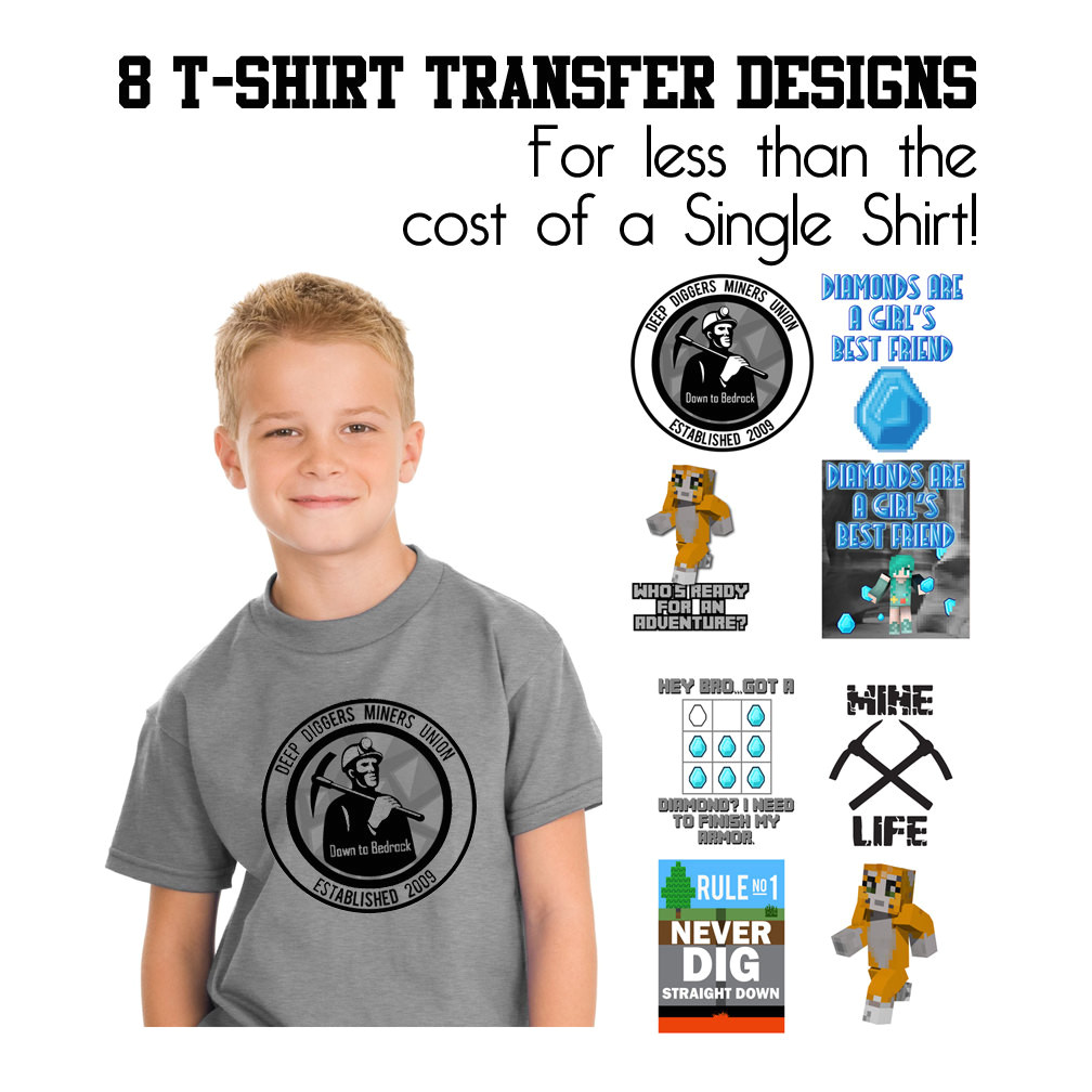 8 mining themed t shirt transfer designs