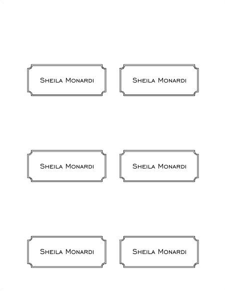 free place card template 6 per sheet