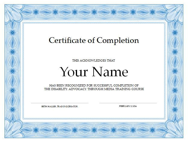 free certificate completion template