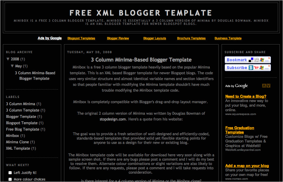 3 col blogger template screen shot