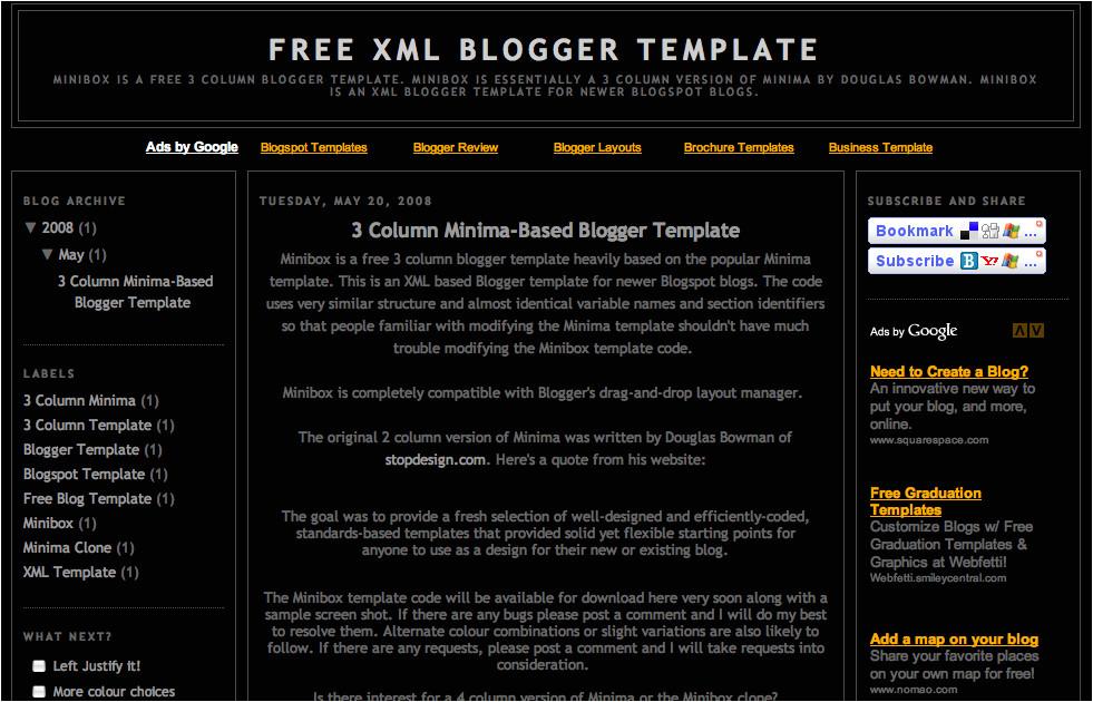 Free Xml Templates for Blogger Free Xml Blogger Template 3 Column Minima 3 Col Blogger