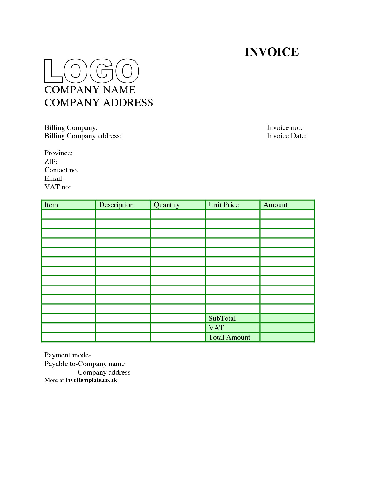 invoice template uk word 1723
