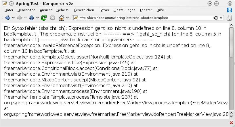Freemarker Template Templateexception Web Anwendungen Mit Spring 3 Und Freemarker