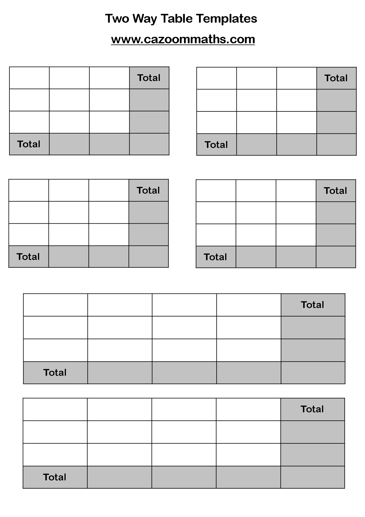 two way frequency table worksheet