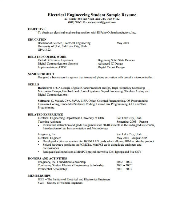 fresher resume samples for engineering students