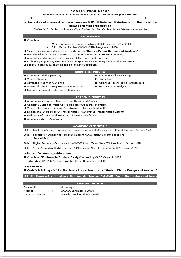 Fresher Resume Samples for Engineering Students Fresher Resume Samples for Engineering Students Best