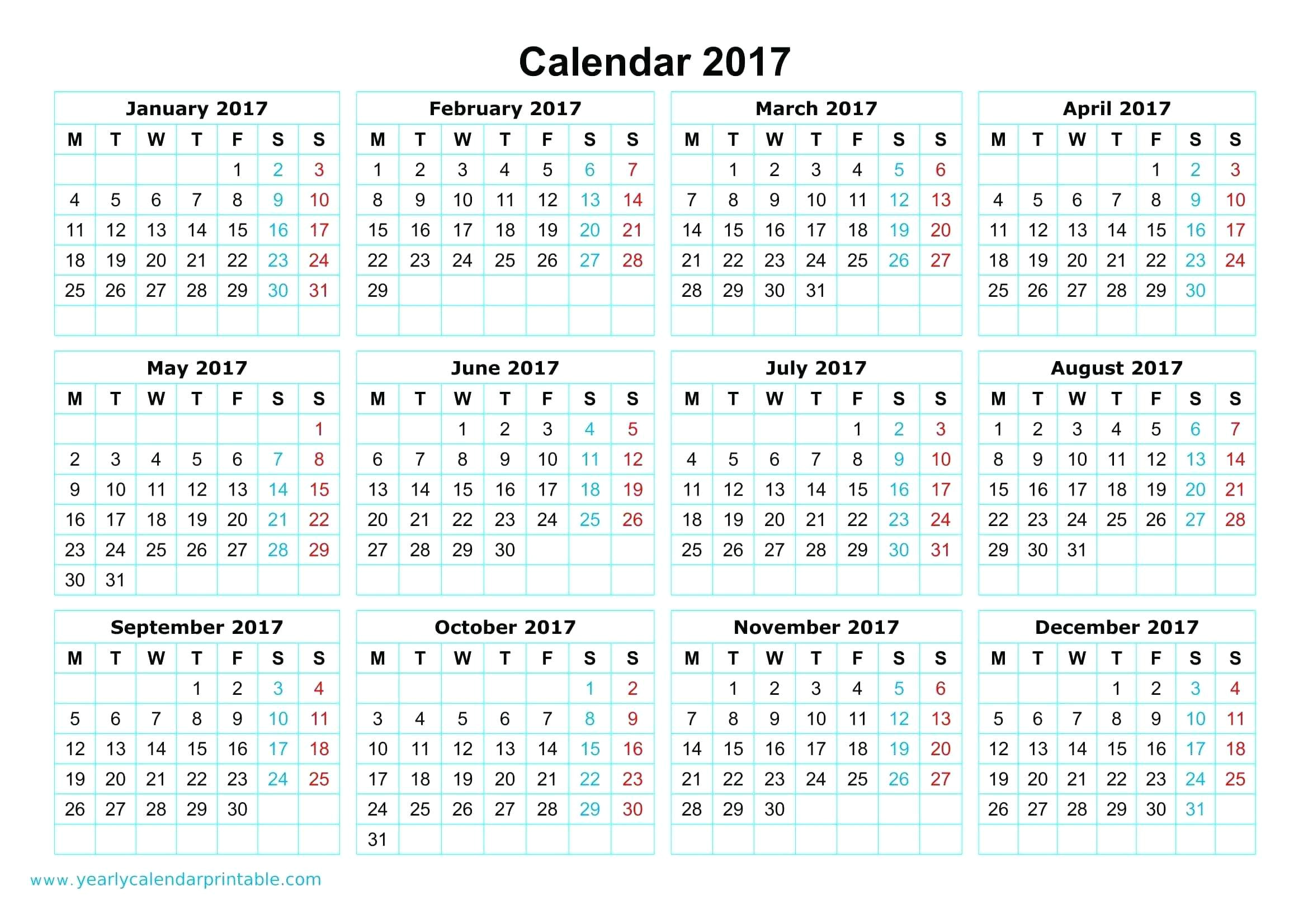 2014 full year calendar template