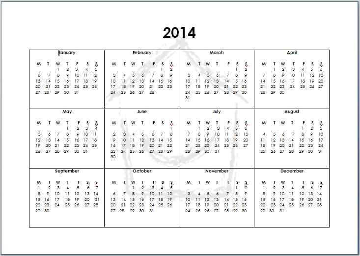 Full Year Calendar Template 2014 8 Best Images Of Full 2014 Year Calendar Printable 2014