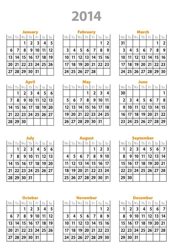 free printable calendar 2014 full year calendario 2014 ano entero para imprimir gratis