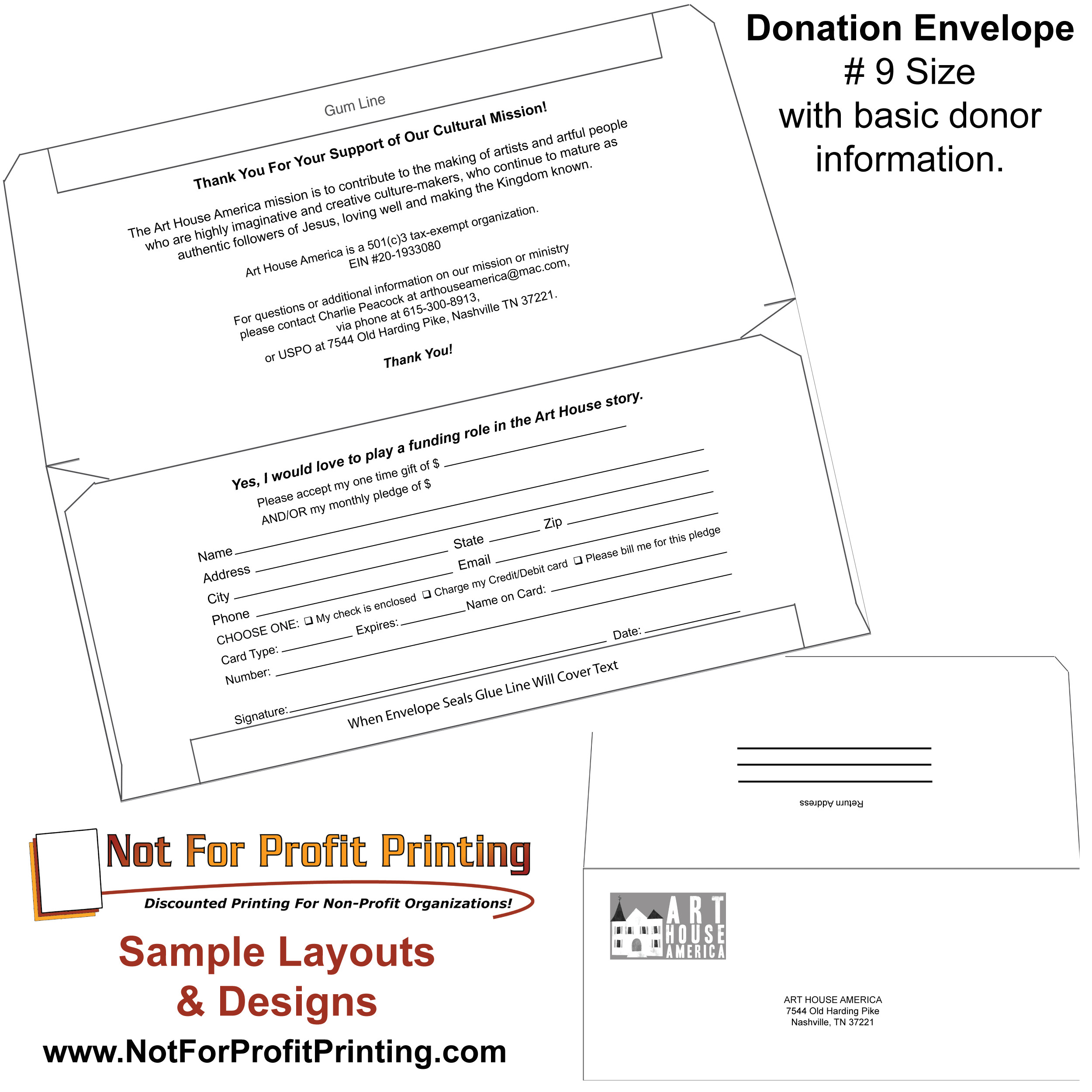 Fundraising Envelope Template Sample Layouts Designs for Donation Envelopes and