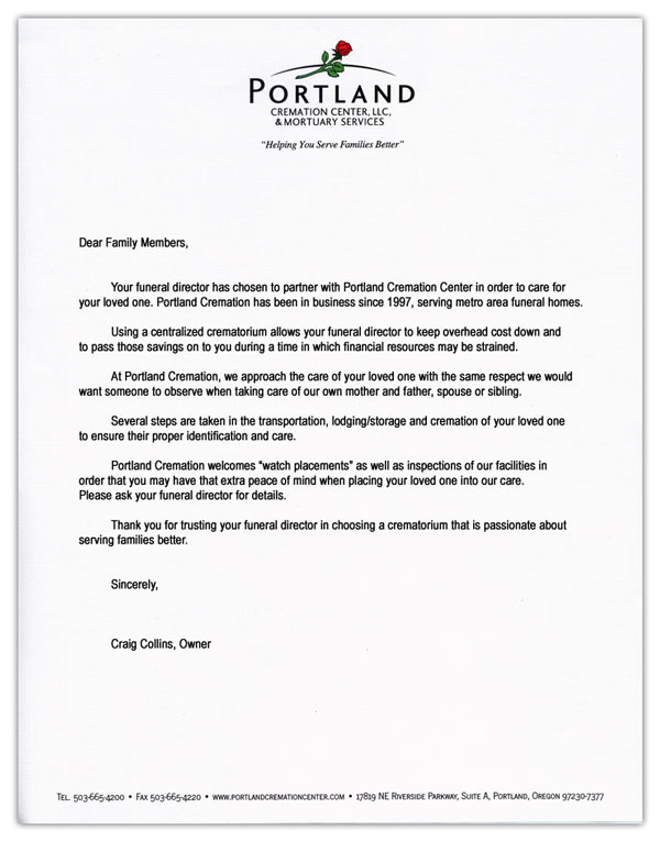funeral home director cover letter