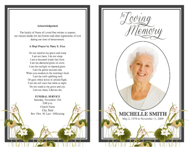 Funeral Handouts Template Funeral Program Template