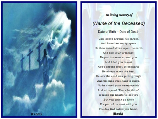 Funeral Memory Cards Free Templates 7 Best Images Of Printable Memorial Card Templates Free