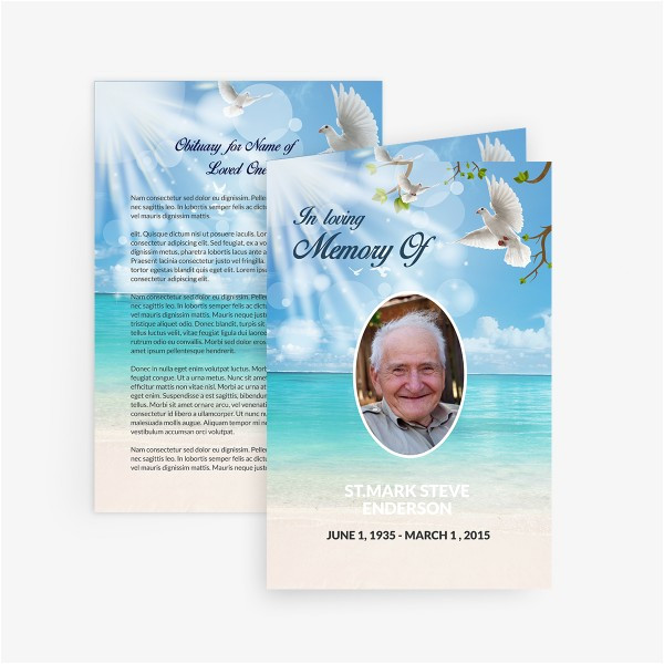 dove funeral card