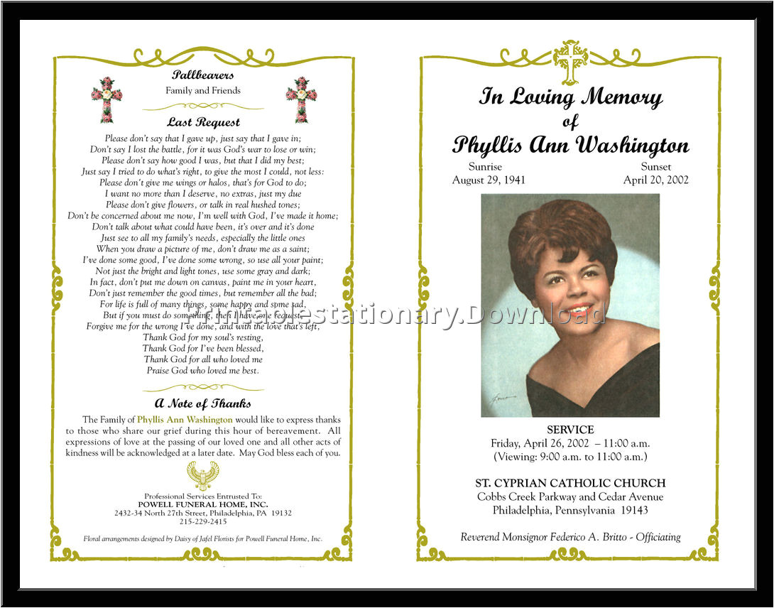 Funeral Program Templates Free Downloads Free Funeral Program Template Tristarhomecareinc