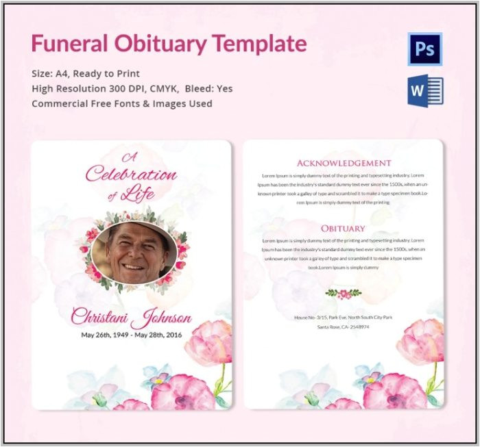 funeral program template download 4901