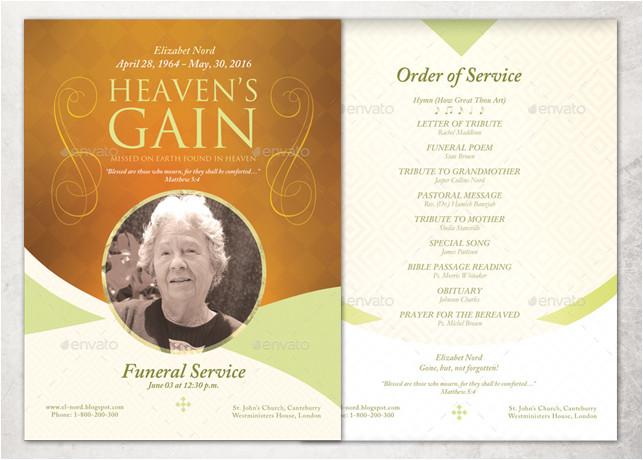 Funeral Service Sheet Template Heaven 39 S Gain Single Sheet Funeral Program Template