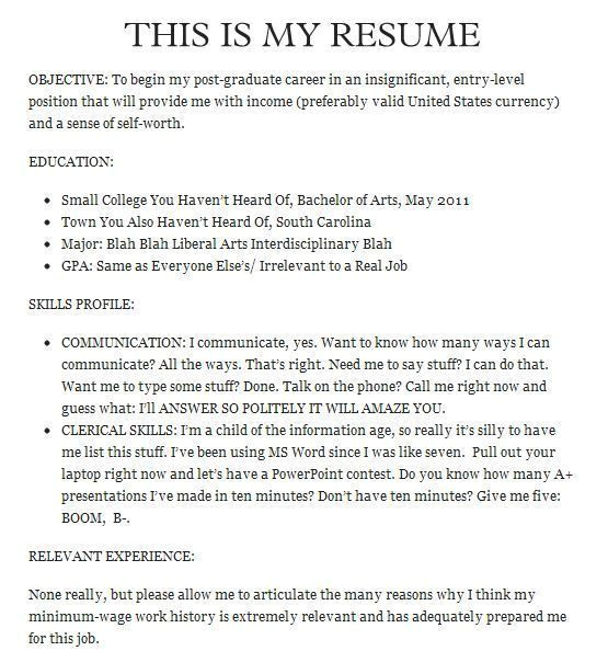 the funniest resumes of all time