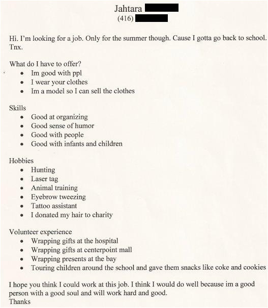 funny real resumes