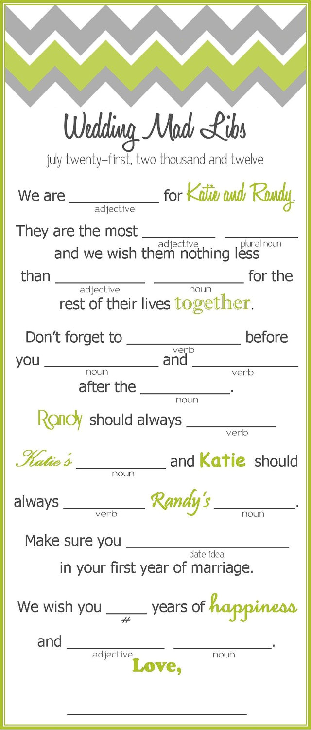 mad libs wedding