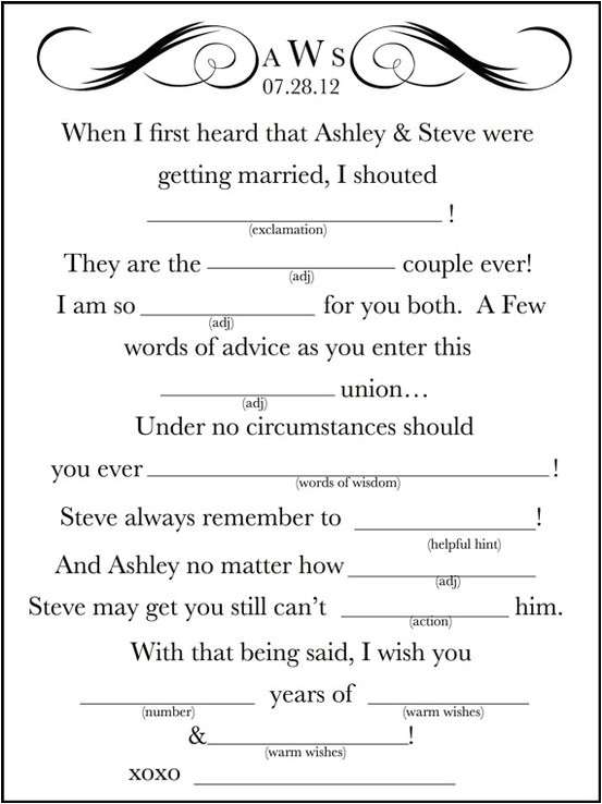 Funny Wedding Mad Libs Template 7 Best Images Of Wedding Mad Libs Printable Funny