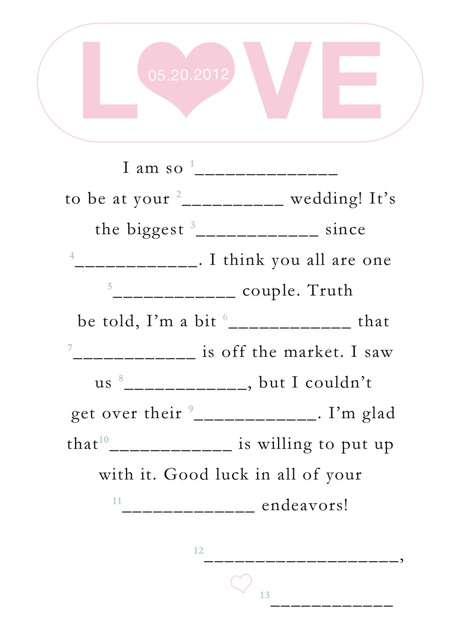 Funny Wedding Mad Libs Template 9 Best Images Of Blank Printable Wedding Mad Libs Funny