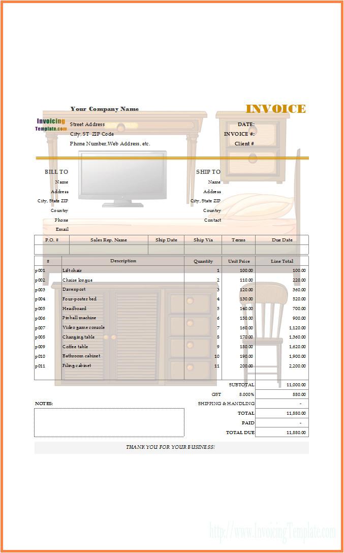 6 furniture bill sample
