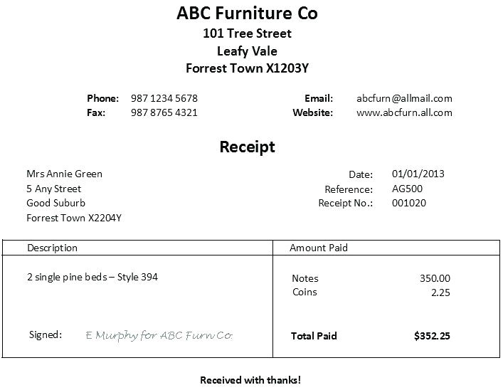 furniture receipt furniture bill of sale furniture donation tax receipt