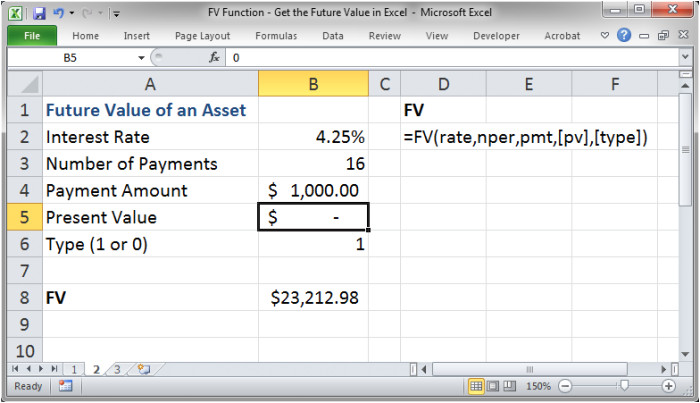fv function get the future value in excel 1333