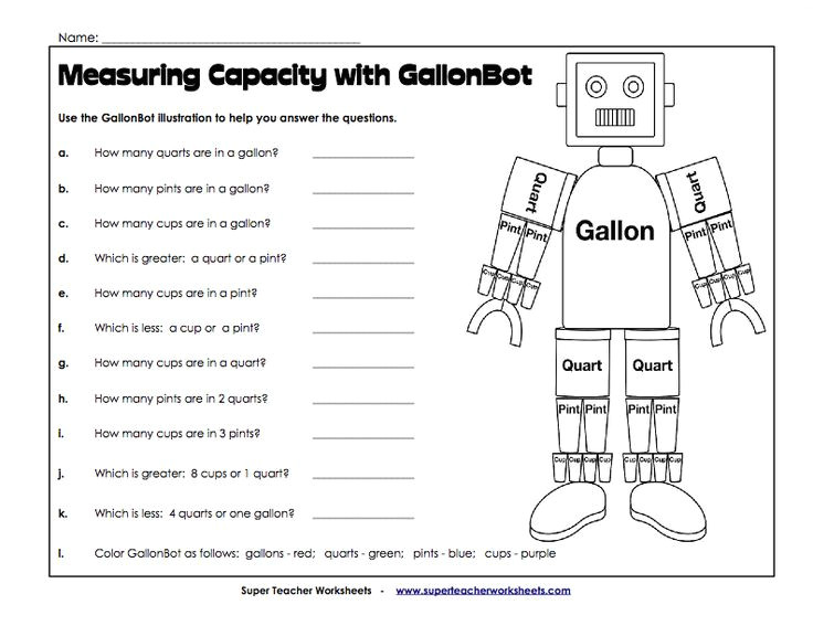 converting gallons quarts pints and cups worksheets