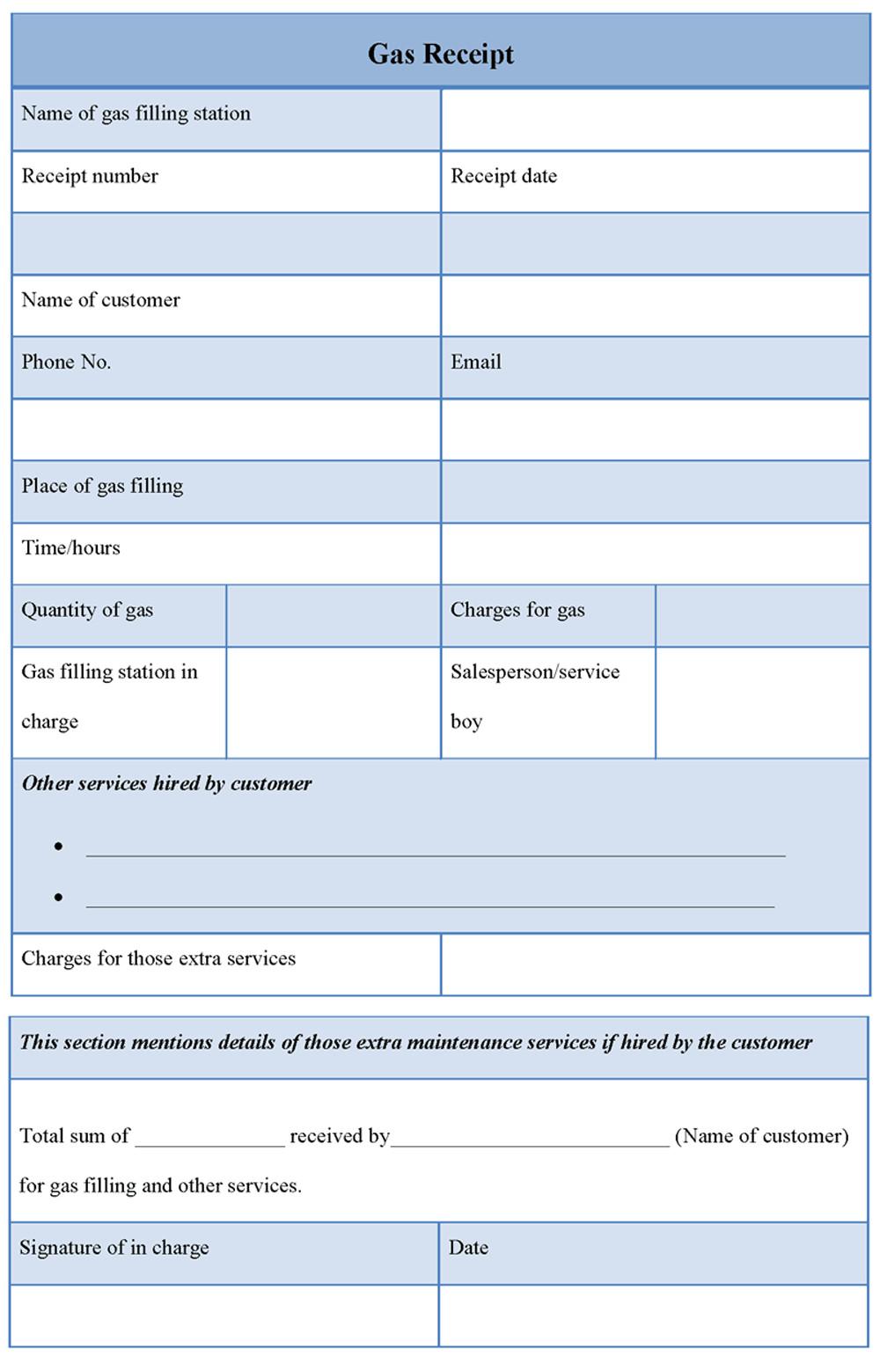 Gas Receipt Template Gas Receipt Template format format Of Gas Receipt