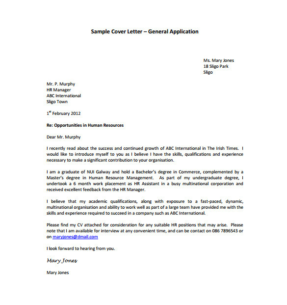 Generalized Cover Letter 15 General Cover Letter Templates Free Sample Example