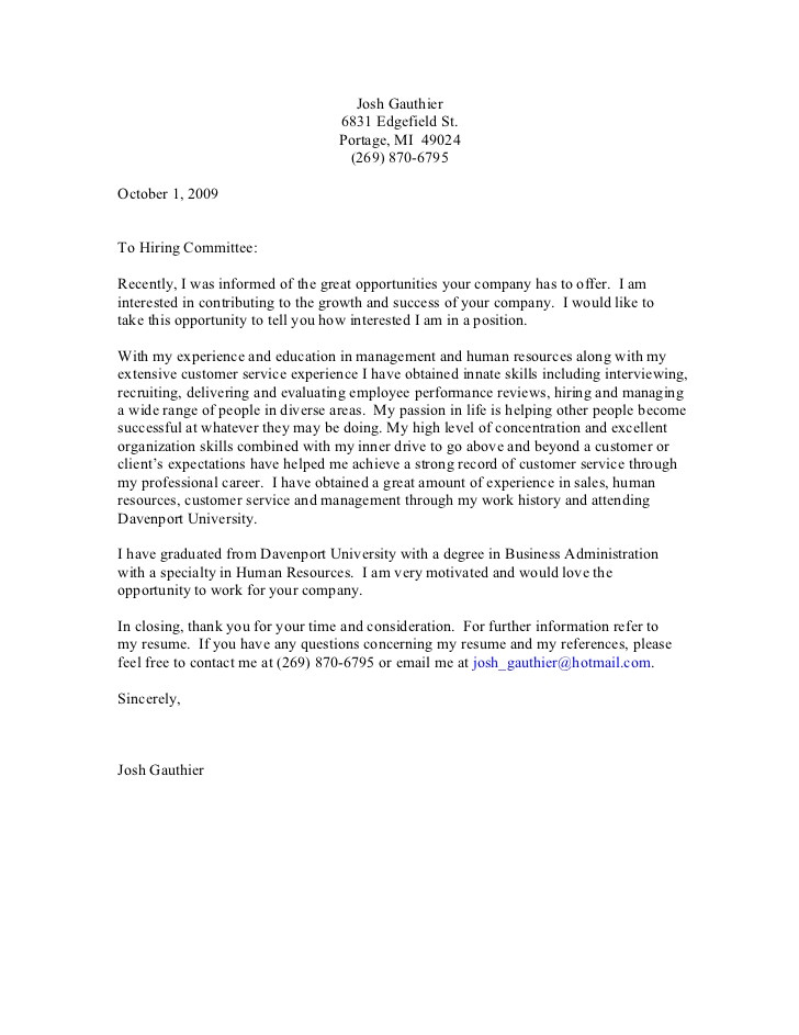Generalized Cover Letter General Cover Letter