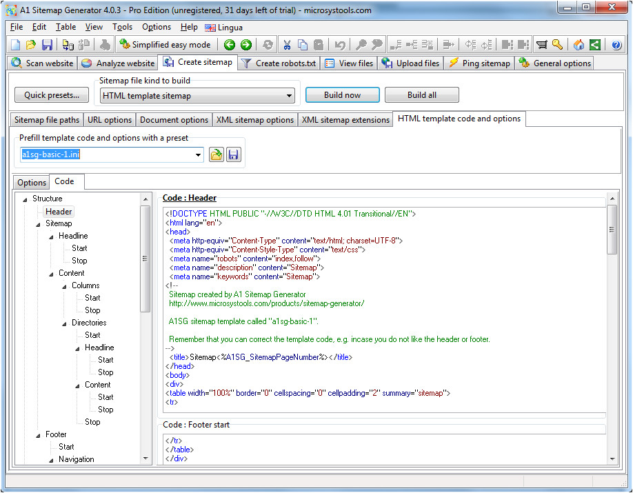 sitemap generator html template